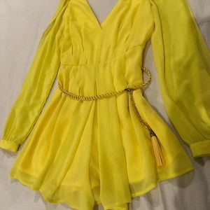 Yellow romper with gold/yellow belt